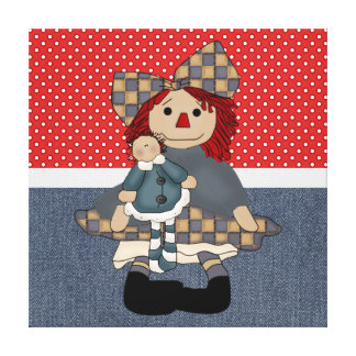 Adorable Country Rag Doll Gallery Wrapped Canvas