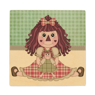 Adorable Country Rag Doll Wood Coaster