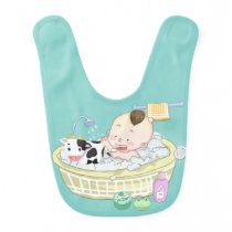 Adorable cow bubble bath boy baby bib