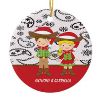 Adorable Cowboy& Cowgirl with Santa Hat Ornament