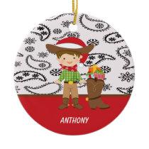 Adorable Cowboy Next to Cowboy Boot Ornament