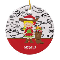 Adorable Cowgirl with Cowboy Boot Ornament