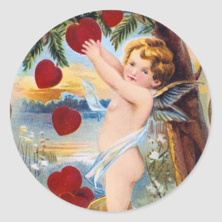 Adorable Cupid Valentine - Vintage! Classic Round Sticker