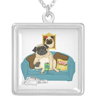 Adorable Customizable Couch Pugtato Tees, Gifts necklace