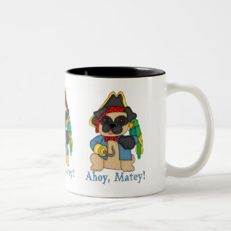 Adorable Customizable Fawn Pug Pirate Tees Two-Tone Coffee Mug