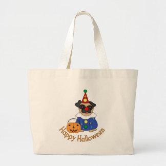 Adorable Customizable Halloween Clown Pug Canvas Bags