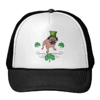 Adorable Customizable St. Pat's Day Pug Mesh Hats