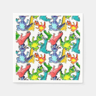 Adorable cute baby dinosaurs doodle picture design paper napkin