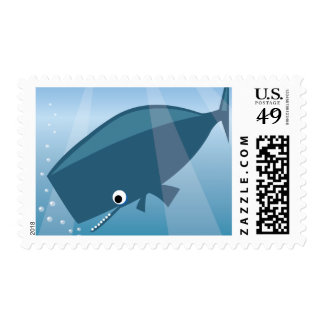 ADORABLE CUTE BLUE WHALE CARTOON HAPPY BUBBLES OCE POSTAGE STAMPS