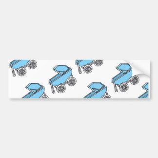 Adorable Cute Carriage Baby Boy Shower Bumper Sticker
