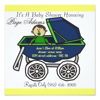 Adorable Cute Carriage Baby Boy Shower Invitation