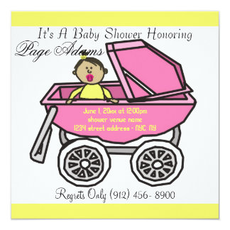 Adorable Cute Carriage Baby Girl Shower Invitation