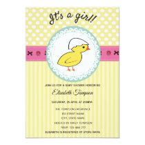 Adorable cute cartoon baby chicken baby shower invitation