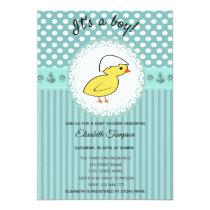 Adorable cute cartoon baby chicken boy baby shower invitation