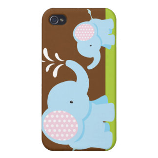 Adorable cute cartoon elephants iPhone 4 case