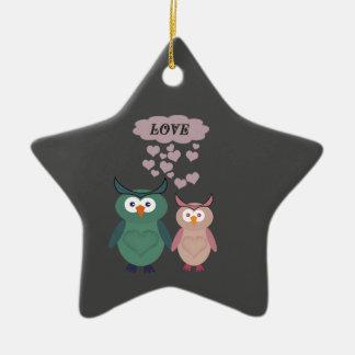 Adorable cute cheerful  owl love couple ceramic ornament