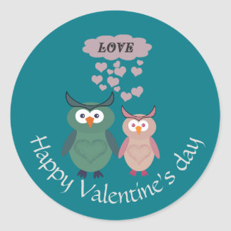 Adorable cute cheerful  owl love couple classic round sticker