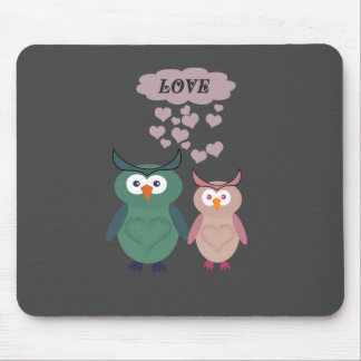 Adorable cute cheerful  owl love couple mouse pad