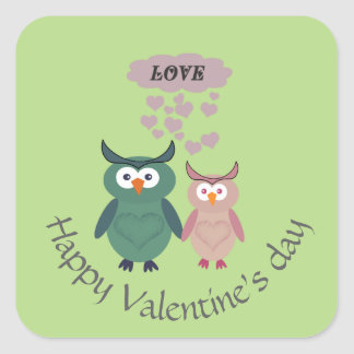 Adorable cute cheerful  owl love couple square sticker