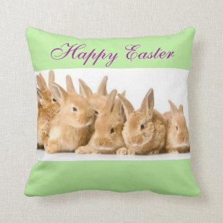 Adorable Cute Easter Bunny Rabbits Custom Color Throw Pillow