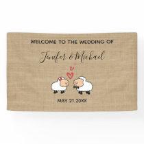 Adorable cute funny cartoon sheep in love burlap banner