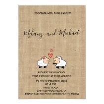 Adorable cute funny cartoon sheep in love burlap card