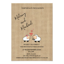 Adorable cute funny cartoon sheep in love burlap invitation
