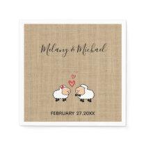 Adorable cute funny cartoon sheep in love burlap paper napkin