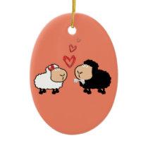 Adorable cute funny cartoon sheep in love ceramic ornament