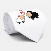 Adorable cute funny cartoon sheep in love neck tie