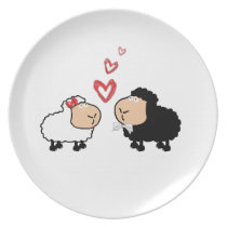 Adorable cute funny cartoon sheep in love plate