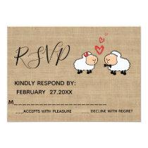 Adorable cute funny cartoon sheep in love RSPV Card