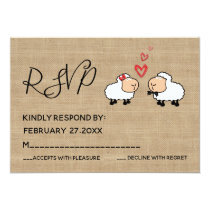 Adorable cute funny cartoon sheep in love RSPV Invitation