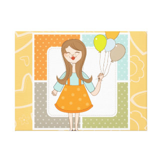 Adorable Cute Girl and Her Balloons Canvas Print