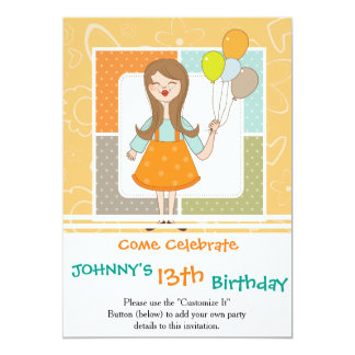 Adorable Cute Girl and Her Balloons Card