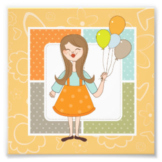 Adorable Cute Girl and Her Balloons Photo Print