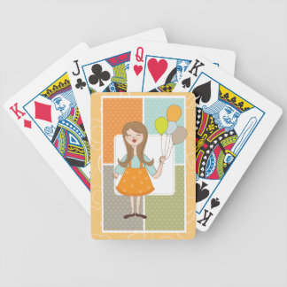 Adorable Cute Girl and Her Balloons Bicycle Playing Cards