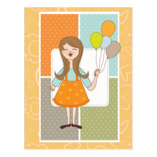Adorable Cute Girl and Her Balloons Postcard
