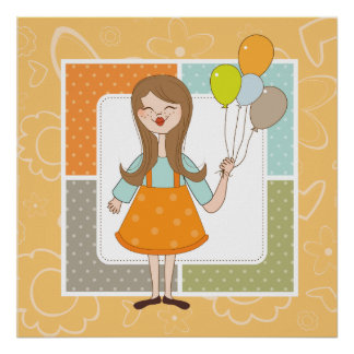 Adorable Cute Girl and Her Balloons Poster