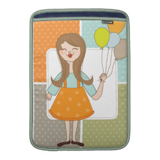 Adorable Cute Girl and Her Balloons Sleeves For MacBook Air