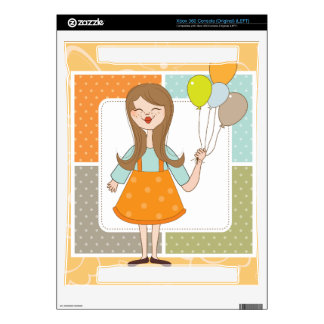 Adorable Cute Girl and Her Balloons Xbox 360 Decal
