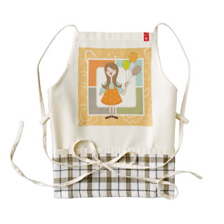 Adorable Cute Girl and Her Balloons Zazzle HEART Apron