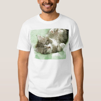 Adorable Cute Grey Tabby Kitten Paw Play Tapping Tee Shirt