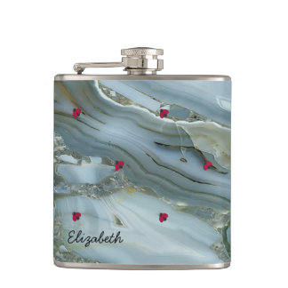 Adorable Cute ,Ladybugs,Marble -Personalized Flask