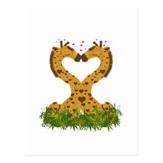 Adorable Cute Love Giraffes Heart Shaped Kissing Post Card
