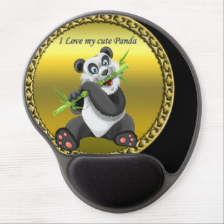 Adorable cute panda bear eating bamboo evergreen gel mouse pad