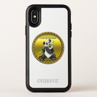 Adorable cute panda bear eating bamboo evergreen OtterBox symmetry iPhone x case