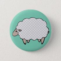 Adorable Cute Polkadot Grey Sheep Button