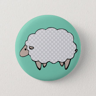 Adorable Cute Polkadot Grey Sheep Button