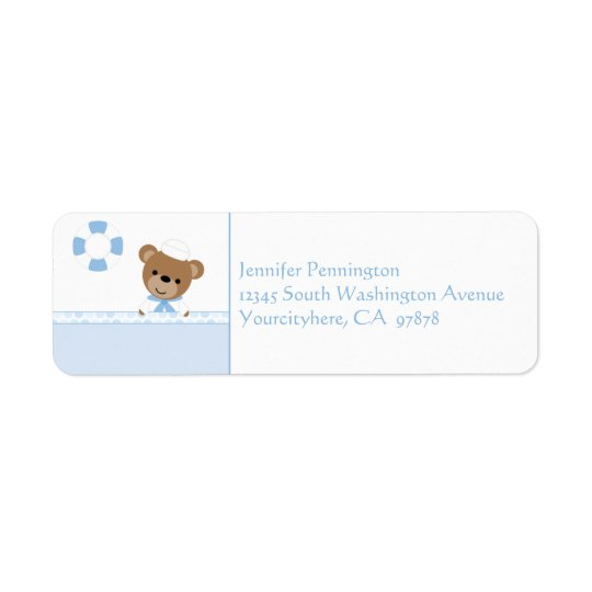 Adorable cute sailor bear return address labels